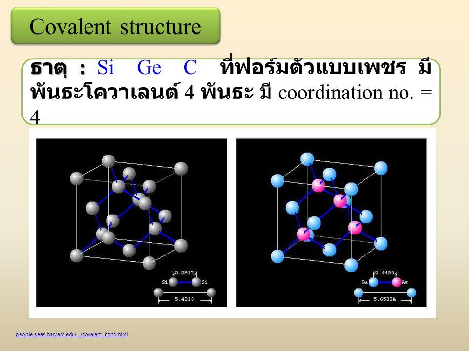 Covalent structure ธาตุ : ธาตุ : Si Ge C ที่ฟอร์มตัวแบบเพชร มี พันธะโควาเลนต์ 4 พันธะ มี coordination no.