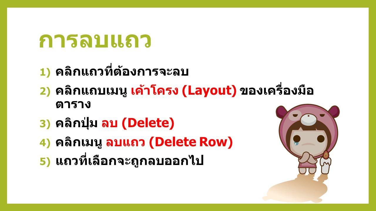 การลบแถว 1) คลิกแถวที่ต้องการจะลบ 2) คลิกแถบเมนู เค้าโครง (Layout) ของเครื่องมือ ตาราง 3) คลิกปุ่ม ลบ (Delete) 4) คลิกเมนู ลบแถว (Delete Row) 5) แถวที่เลือกจะถูกลบออกไป