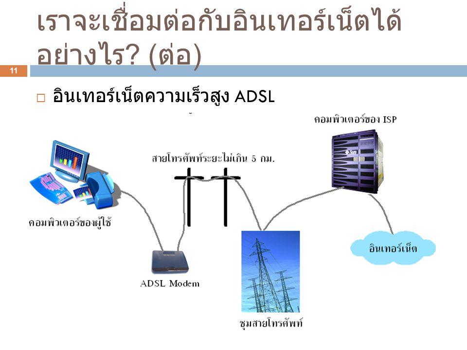 เราจะเชื่อมต่อกับอินเทอร์เน็ตได้ อย่างไร ? ( ต่อ ) 11  อินเทอร์เน็ตความเร็วสูง ADSL