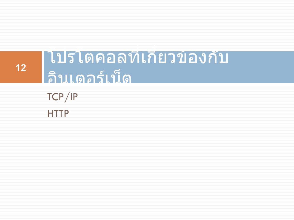 TCP/IP HTTP โปรโตคอลที่เกี่ยวข้องกับ อินเตอร์เน็ต 12