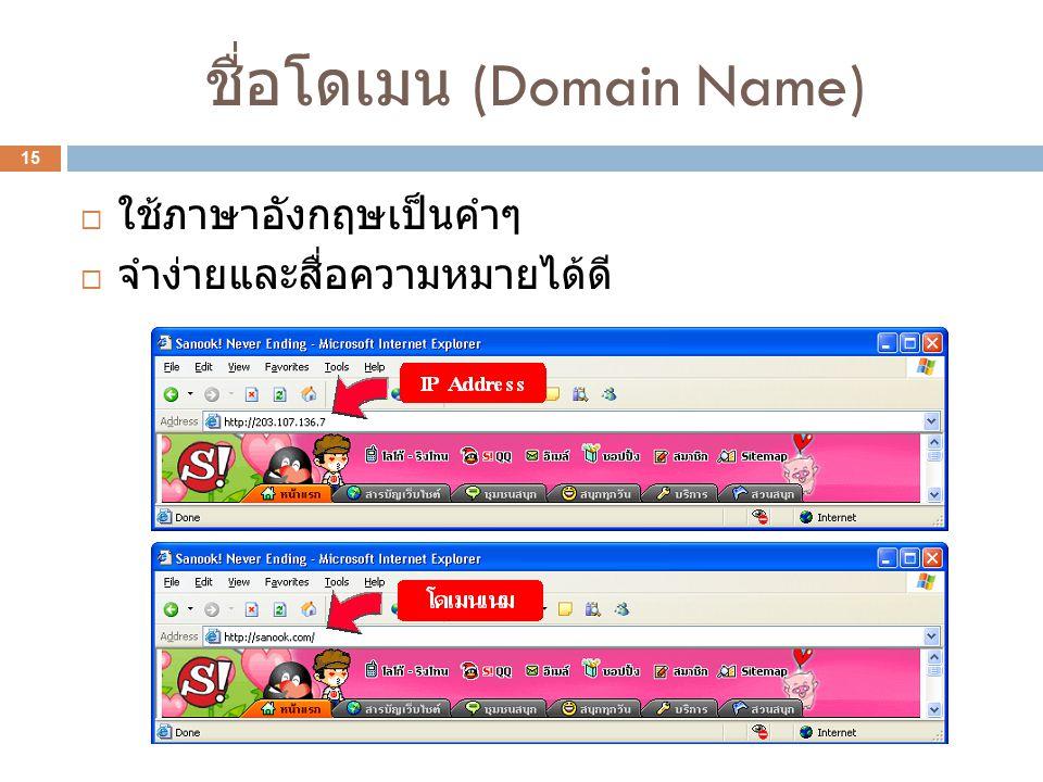 ชื่อโดเมน (Domain Name) 15  ใช้ภาษาอังกฤษเป็นคำๆ  จำง่ายและสื่อความหมายได้ดี