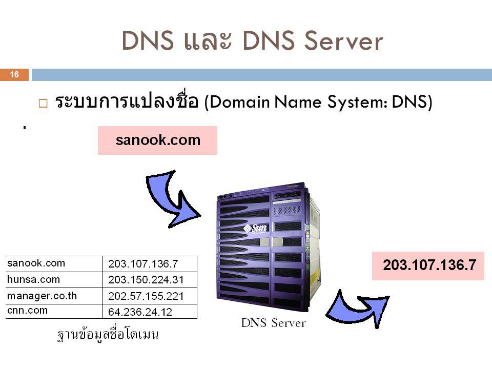 DNS และ DNS Server 16  ระบบการแปลงชื่อ (Domain Name System: DNS)