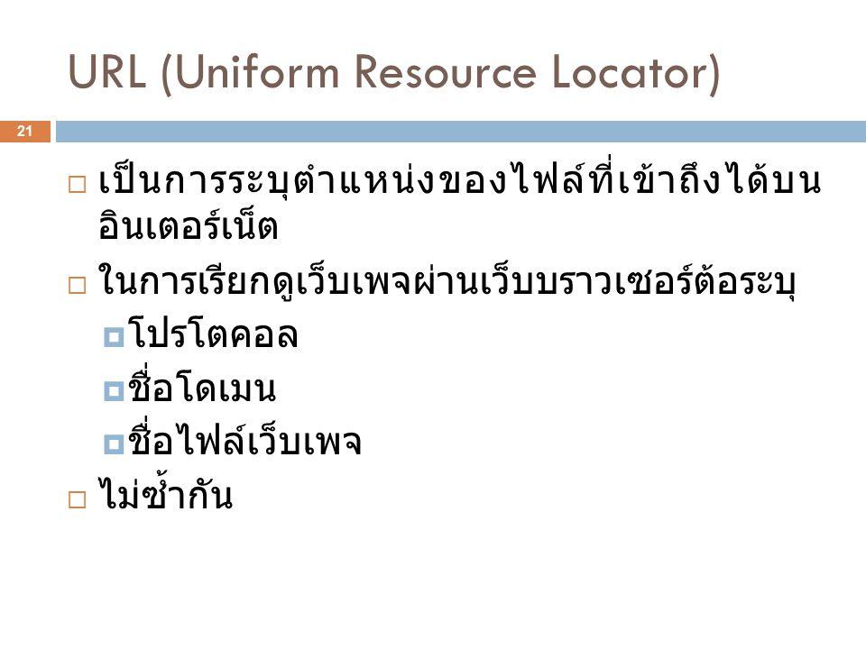 URL (Uniform Resource Locator) 21  เป็นการระบุตำแหน่งของไฟล์ที่เข้าถึงได้บน อินเตอร์เน็ต  ในการเรียกดูเว็บเพจผ่านเว็บบราวเซอร์ต้อระบุ  โปรโตคอล  ชื่อโดเมน  ชื่อไฟล์เว็บเพจ  ไม่ซ้ำกัน