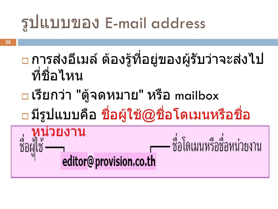 รูปแบบของ E-mail address 25  การส่งอีเมล์ ต้องรู้ที่อยู่ของผู้รับว่าจะส่งไป ที่ชื่อไหน  เรียกว่า ตู้จดหมาย หรือ mailbox  มีรูปแบบคือ ชื่อผู้ใช้ @ ชื่อโดเมนหรือชื่อ หน่วยงาน