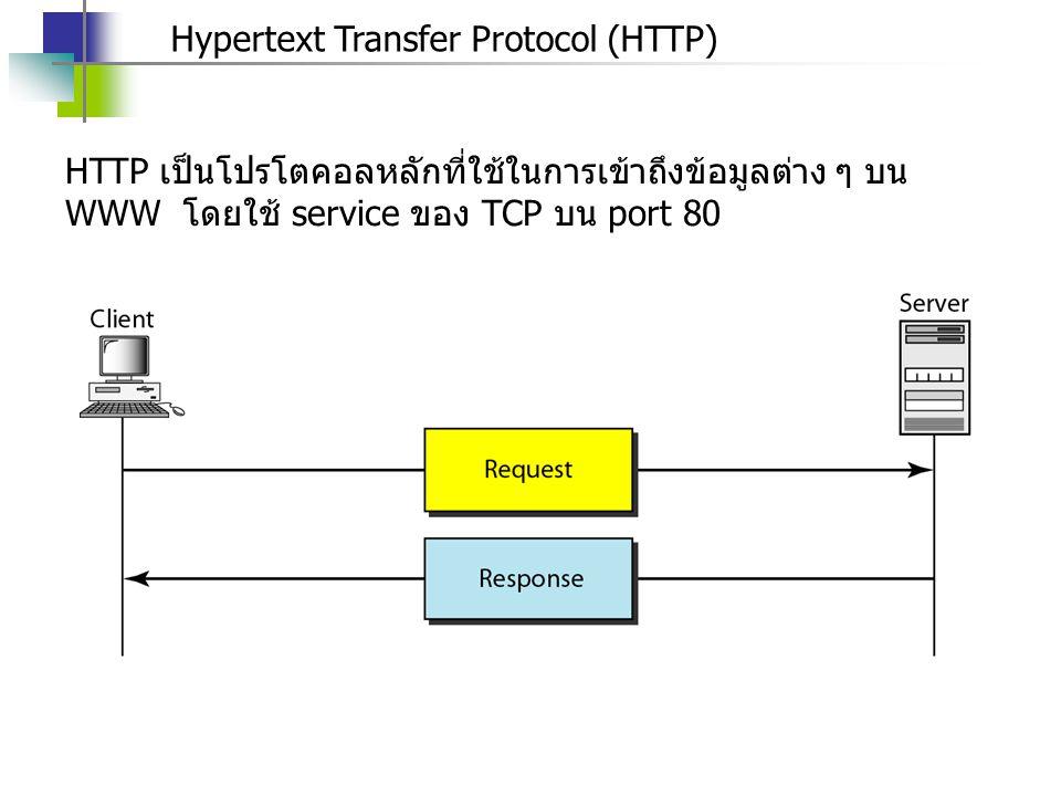 Hypertext Transfer Protocol (HTTP) HTTP เป็นโปรโตคอลหลักที่ใช้ในการเข้าถึงข้อมูลต่าง ๆ บน WWW โดยใช้ service ของ TCP บน port 80