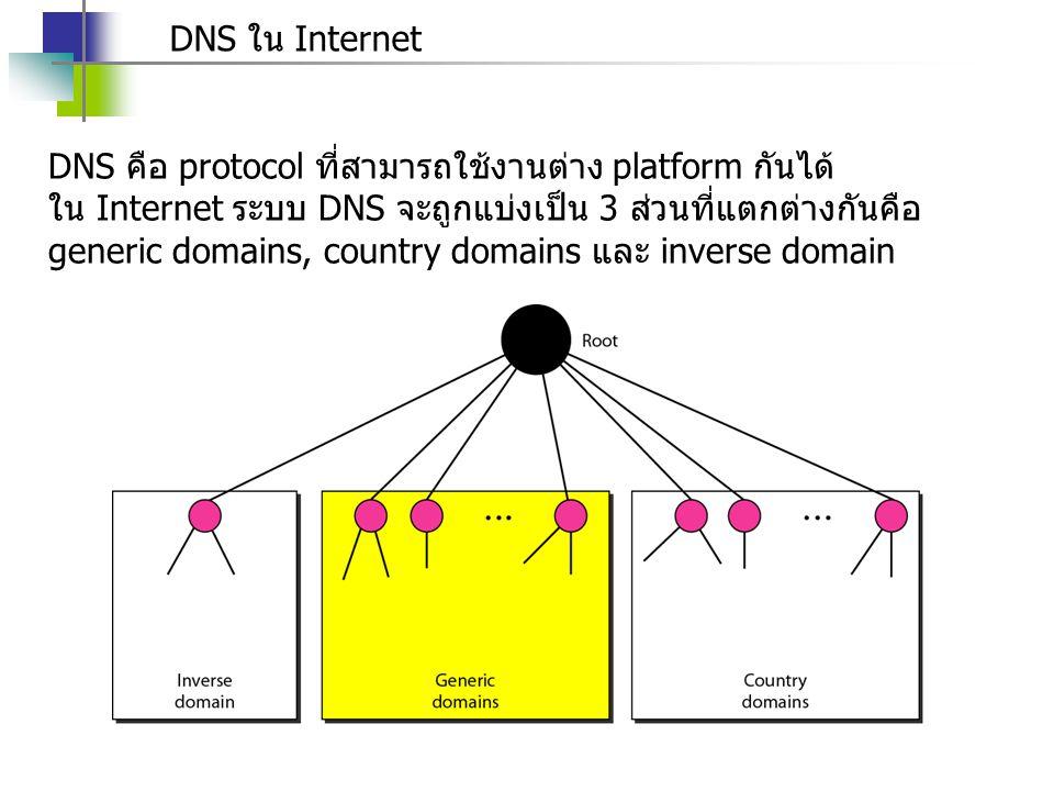 DNS ใน Internet DNS คือ protocol ที่สามารถใช้งานต่าง platform กันได้ ใน Internet ระบบ DNS จะถูกแบ่งเป็น 3 ส่วนที่แตกต่างกันคือ generic domains, countr