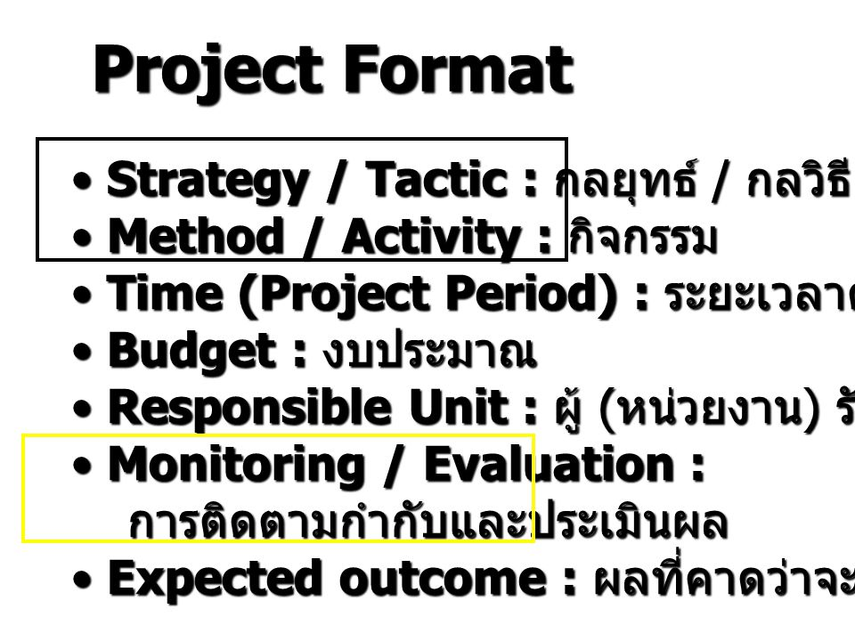 Project Format Strategy / Tactic : กลยุทธ์ / กลวิธี Strategy / Tactic : กลยุทธ์ / กลวิธี Method / Activity : กิจกรรม Method / Activity : กิจกรรม Time