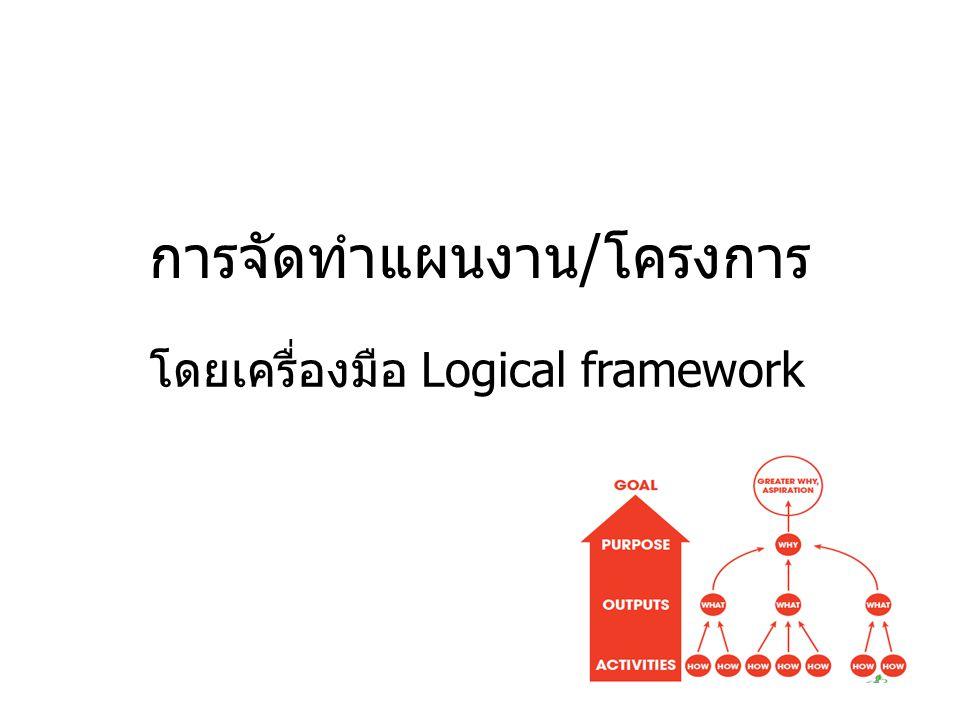 การจัดทำแผนงาน/โครงการ โดยเครื่องมือ Logical framework