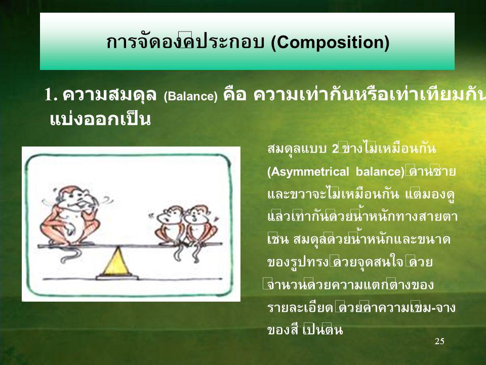 24 1. ความสมดุล (Balance) คือ ความเท่ากันหรือเท่าเทียมกันทั้งสองข้าง แบ่งออกเป็น สมดุลแบบทั้ง 2 ข้างเหมือนกัน (Symmetrical balance) ทั้งซ้ายขวา เหมือน