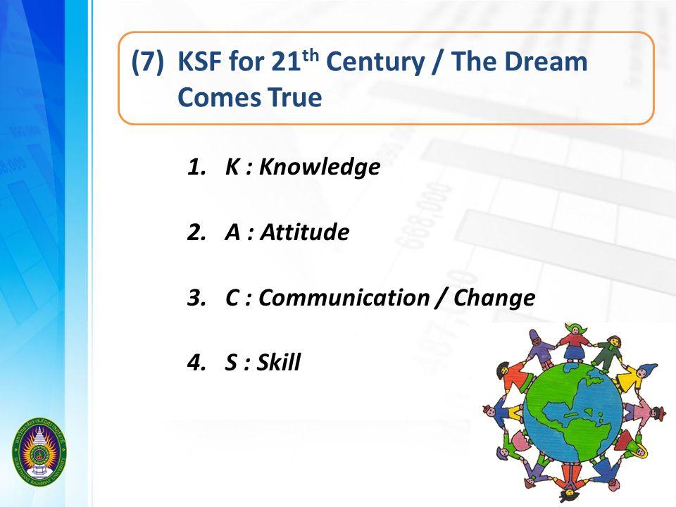 (7) KSF for 21 th Century / The Dream Comes True 1. K : Knowledge 2. A : Attitude 3. C : Communication / Change 4. S : Skill