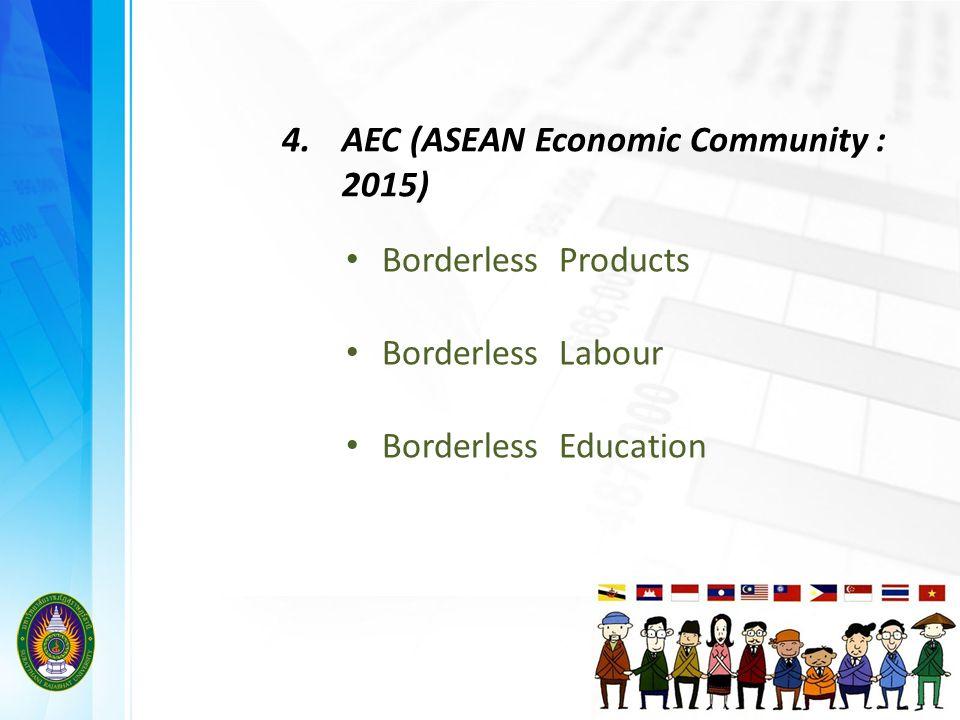 4.AEC (ASEAN Economic Community : 2015) Borderless Products Borderless Labour Borderless Education