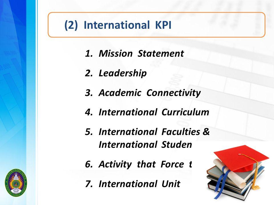 (2) International KPI 1.Mission Statement 2.Leadership 3.Academic Connectivity 4.International Curriculum 5.International Faculties & International St