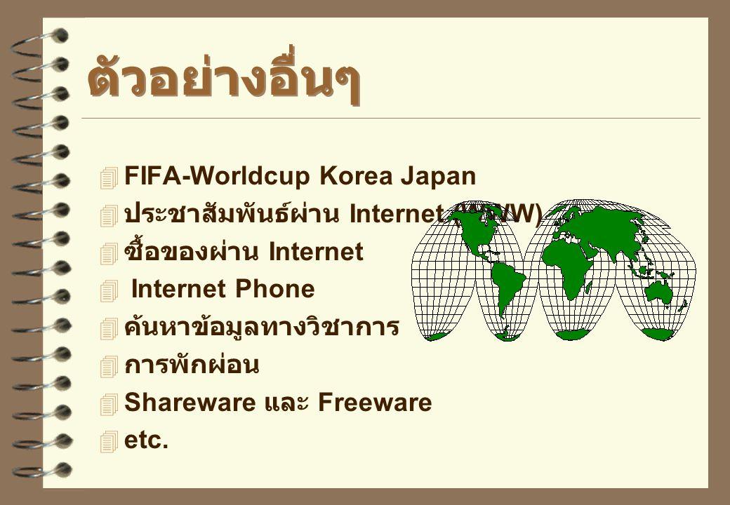 ตัวอย่างการใช้งาน  รับส่งจดหมายอิเล็กทรอนิกส์ (E-mail)  ติดตามข่าวการเมือง, ข่าวกีฬา –www.espn.com www.cricinfo.com  ใช้งาน telnet –Maspar Parallel