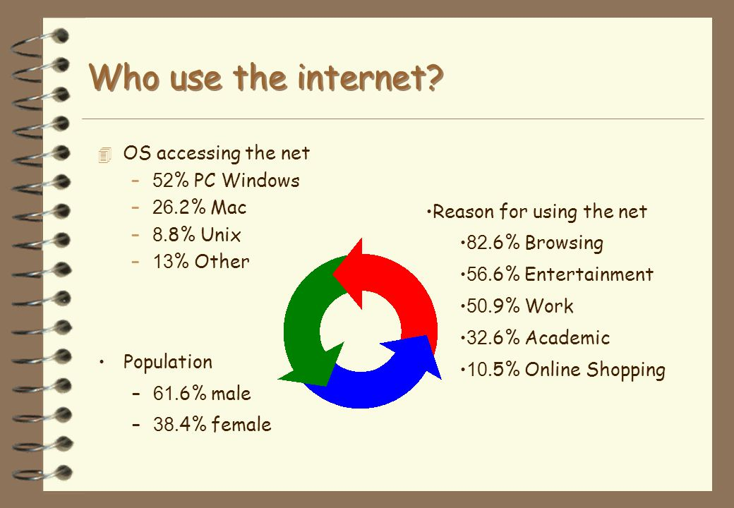 Who uses the internet? 4 Who are the internet users? 4 What are their backgrounds? 4 What motivates them? 4 What kinds of computer do they use? 4 How