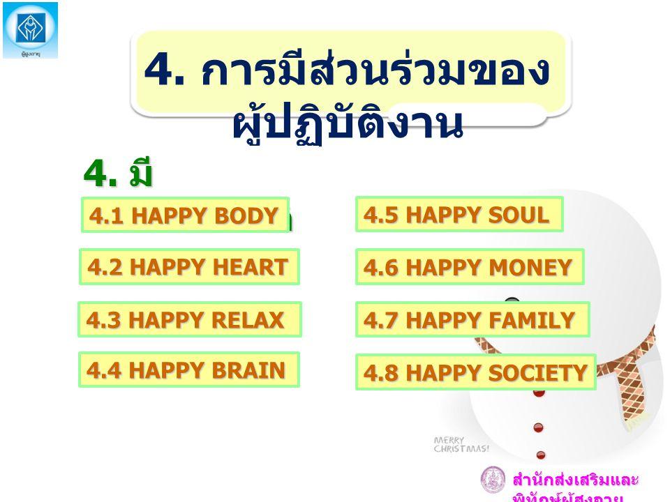 4. การมีส่วนร่วมของ ผู้ปฏิบัติงาน 4. มี เอกสารอ้างอิ ง 4.1 HAPPY BODY 4.2 HAPPY HEART 4.3 HAPPY RELAX 4.4 HAPPY BRAIN 4.5 HAPPY SOUL 4.6 HAPPY MONEY 4