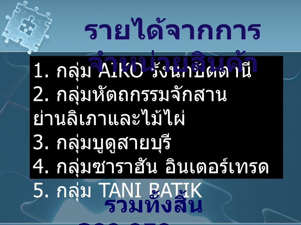 1. กลุ่ม AIKO รังนกปัตตานี 2. กลุ่มหัตถกรรมจักสาน ย่านลิเภาและไม้ไผ่ 3. กลุ่มบูดูสายบุรี 4. กลุ่มซาราฮัน อินเตอร์เทรด 5. กลุ่ม TANI BATIK รายได้จากการ