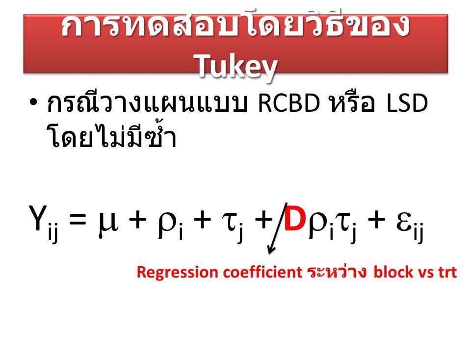 การทดสอบโดยวิธีของ Tukey กรณีวางแผนแบบ RCBD หรือ LSD โดยไม่มีซ้ำ Y ij =  +  i +  j + D  i  j +  ij Regression coefficient ระหว่าง block vs trt