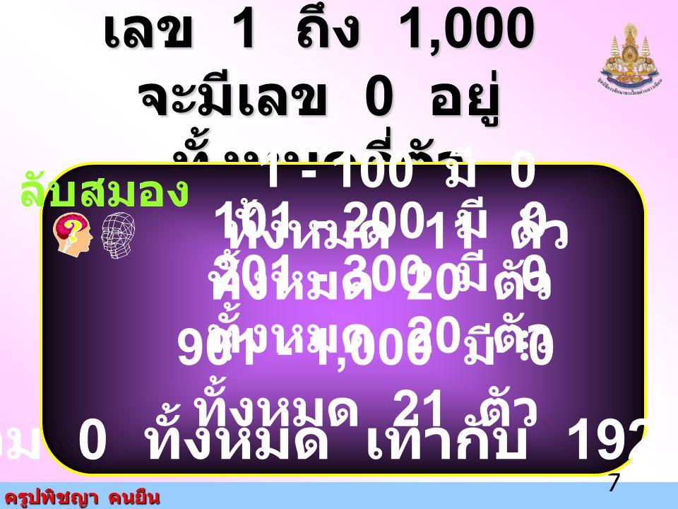 ครูปพิชญา คนยืน 7 เลข 1 ถึง 1,000 จะมีเลข 0 อยู่ ทั้งหมดกี่ตัว ลับสมอง 1 - 100 มี 0 ทั้งหมด 11 ตัว 101 - 200 มี 0 ทั้งหมด 20 ตัว 201 - 300 มี 0 ทั้งหม