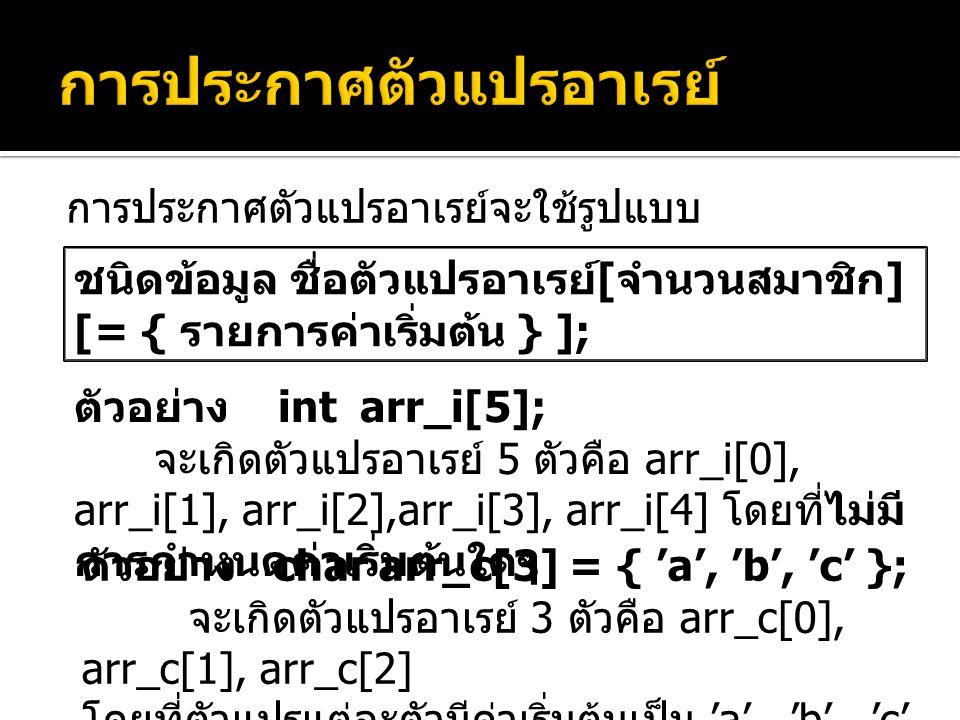 การประกาศตัวแปรอาเรย์จะใช้รูปแบบ ชนิดข้อมูล ชื่อตัวแปรอาเรย์ [ จำนวนสมาชิก ] [= { รายการค่าเริ่มต้น } ]; ตัวอย่าง int arr_i[5]; จะเกิดตัวแปรอาเรย์ 5 ตัวคือ arr_i[0], arr_i[1], arr_i[2],arr_i[3], arr_i[4] โดยที่ไม่มี การกำหนดค่าเริ่มต้นใดๆ ตัวอย่าง char arr_c[3] = { 'a', 'b', 'c' }; จะเกิดตัวแปรอาเรย์ 3 ตัวคือ arr_c[0], arr_c[1], arr_c[2] โดยที่ตัวแปรแต่ละตัวมีค่าเริ่มต้นเป็น 'a', 'b', 'c' ตามลำดับ
