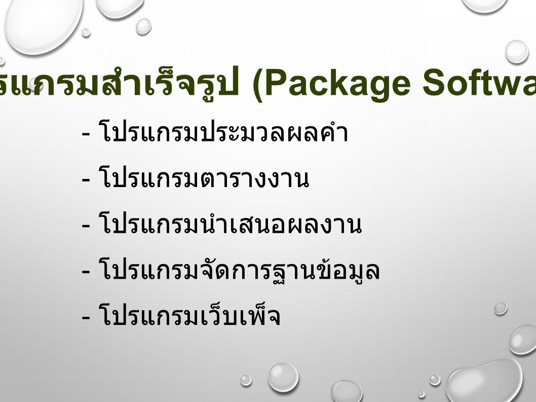 - โปรแกรมประมวลผลคำ - โปรแกรมตารางงาน - โปรแกรมนำเสนอผลงาน - โปรแกรมจัดการฐานข้อมูล - โปรแกรมเว็บเพ็จ โปรแกรมสำเร็จรูป (Package Software)