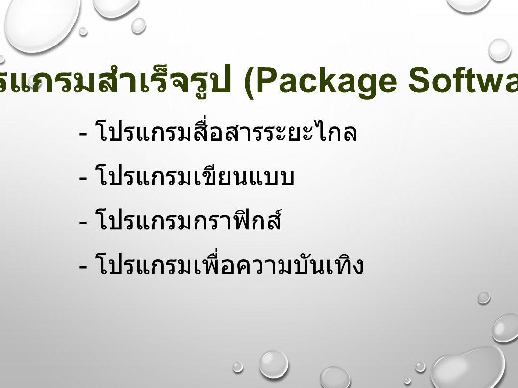 - โปรแกรมสื่อสารระยะไกล - โปรแกรมเขียนแบบ - โปรแกรมกราฟิกส์ - โปรแกรมเพื่อความบันเทิง โปรแกรมสำเร็จรูป (Package Software)