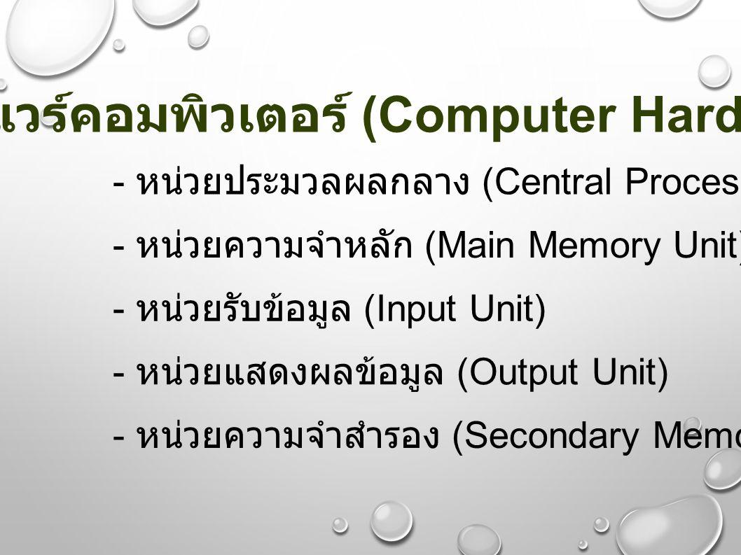 ฮาร์ดแวร์คอมพิวเตอร์ (Computer Hardware) - หน่วยประมวลผลกลาง (Central Processing Unit) - หน่วยความจำหลัก (Main Memory Unit) - หน่วยรับข้อมูล (Input Un
