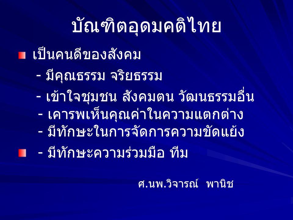 บัณฑิตอุดมคติไทย คนที่จะดำรงชีวิตเป็นคนดีของสังคม ดูแลตนเองได้ พึ่งตนเองได้ เผื่อแผ่ แก่ผู้อื่น สามารถเผชิญความเปลี่ยนแปลงรุนแรง และไม่คาดฝันได้ ครั้ง