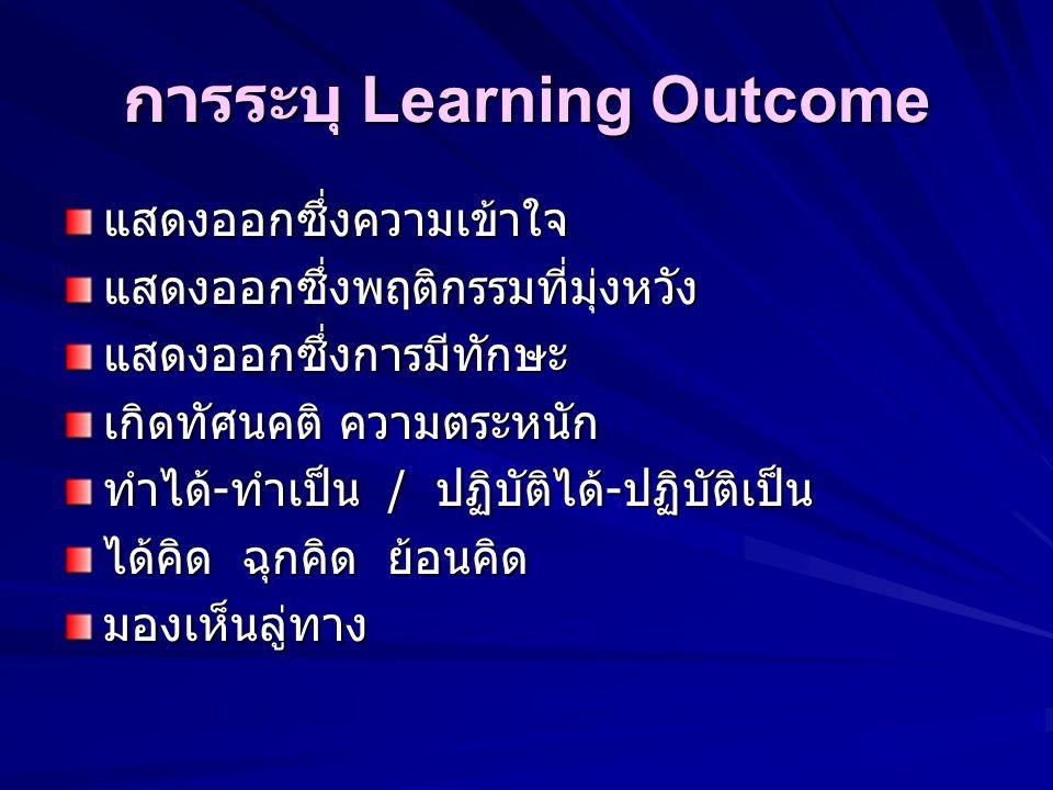 Learning Outcome ลักษณะผลลัพธ์การเรียนรู้ ข้อความเข้าใจง่าย ชัดเจน ระบุสิ่งซึ่งนักศึกษาถูกมุ่งหวังให้สามารถ แสดงออกมาให้เห็นเป็นรูปธรรม สิ่งซึ่งมุ่งหว