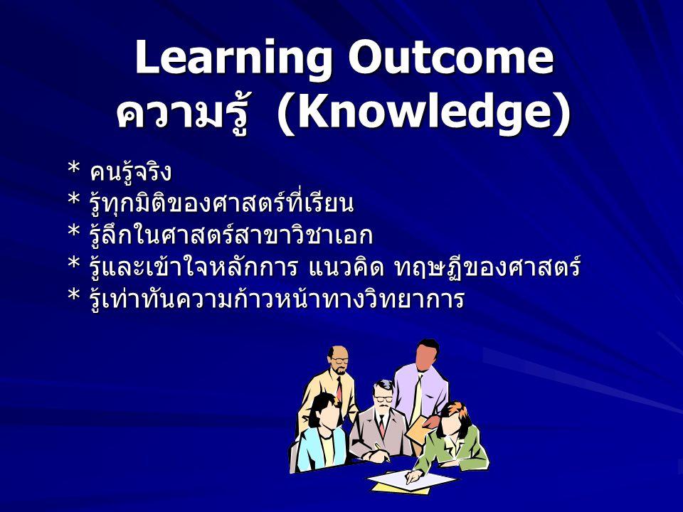 Learning Outcome คุณธรรม จริยธรรม (Ethical and Moral Development) การพัฒนาลักษณะนิสัย * สามารถควบคุมตนเองและจัดการปัญหา ของตนด้านคุณธรรมได้ * แสดงออกซ