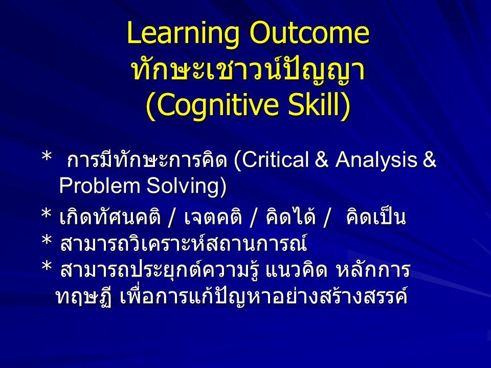 Learning Outcome ความรู้ (Knowledge) * คนรู้จริง * รู้ทุกมิติของศาสตร์ที่เรียน * รู้ลึกในศาสตร์สาขาวิชาเอก * รู้และเข้าใจหลักการ แนวคิด ทฤษฏีของศาสตร์