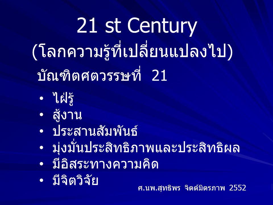 21 st Century (โลกความรู้ที่เปลี่ยนแปลงไป) บัณฑิตศตวรรษที่ 21 ไฝ่รู้ สู้งาน ประสานสัมพันธ์ มุ่งมั่นประสิทธิภาพและประสิทธิผล มีอิสระทางความคิด มีจิตวิจัย ศ.นพ.สุทธิพร จิตต์มิตรภาพ 2552