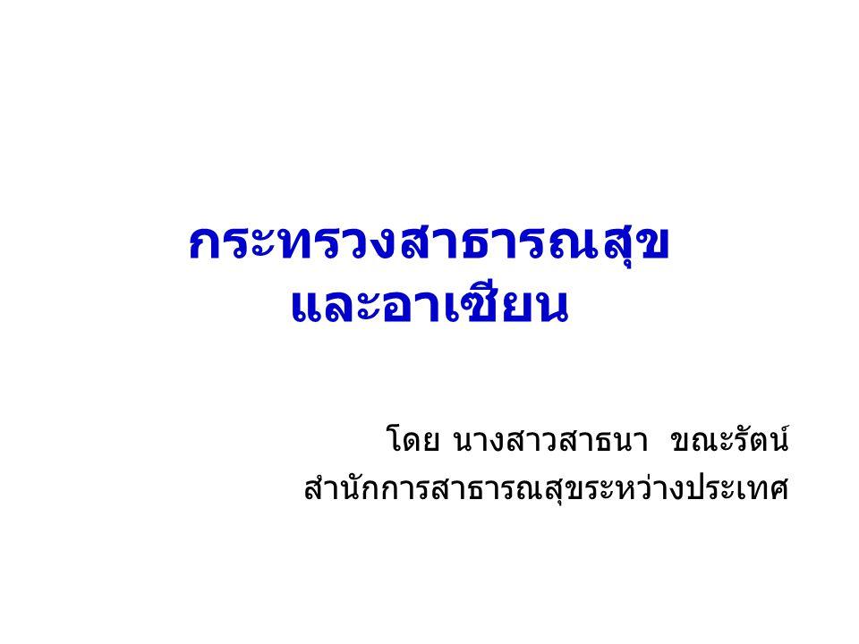 กระทรวงสาธารณสุข และอาเซียน โดย นางสาวสาธนา ขณะรัตน์ สำนักการสาธารณสุขระหว่างประเทศ