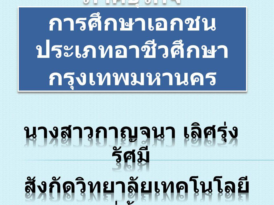 การบริหารความเสี่ยง ภาคธุรกิจ การศึกษาเอกชน ประเภทอาชีวศึกษา กรุงเทพมหานคร