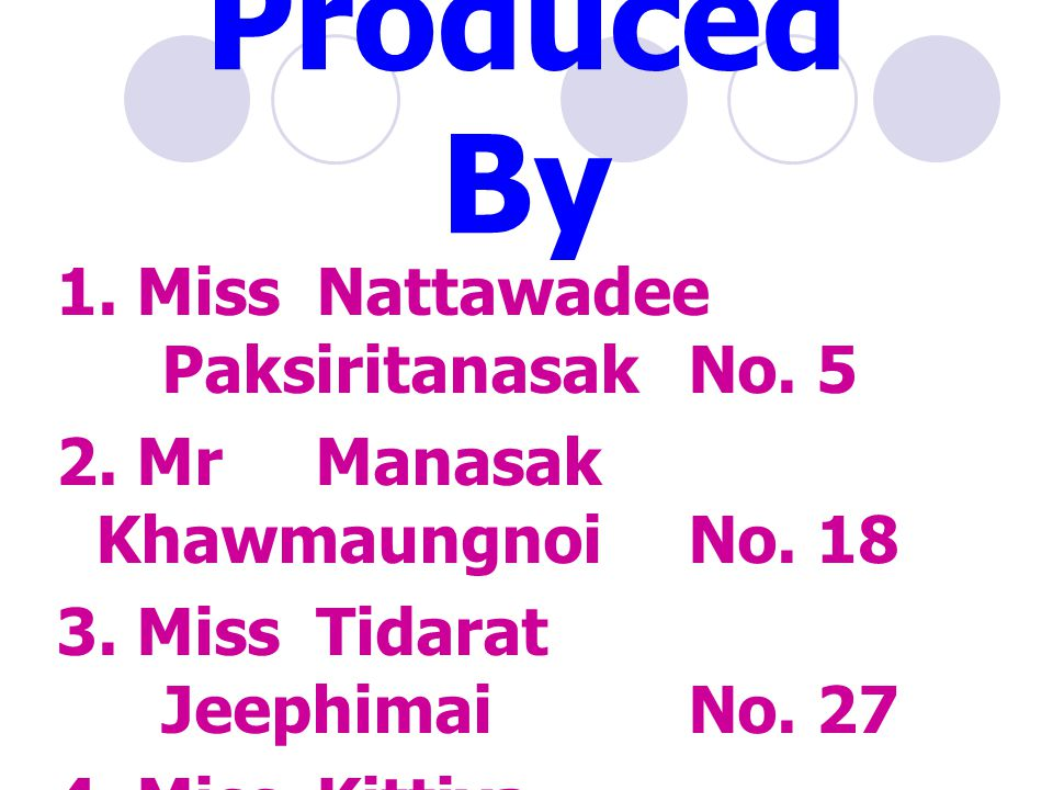 Produced By 1. Miss Nattawadee PaksiritanasakNo. 5 2. Mr Manasak KhawmaungnoiNo. 18 3. Miss Tidarat JeephimaiNo. 27 4. Miss Kittiya NaiphimaiNo. 29 Cl