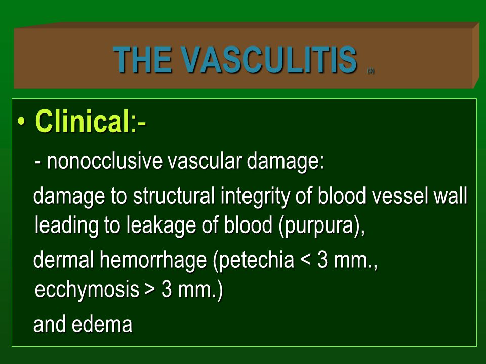 THE VASCULITIS (3) Clinical :- Clinical :- - nonocclusive vascular damage: damage to structural integrity of blood vessel wall leading to leakage of blood (purpura), damage to structural integrity of blood vessel wall leading to leakage of blood (purpura), dermal hemorrhage (petechia 3 mm.) dermal hemorrhage (petechia 3 mm.) and edema and edema
