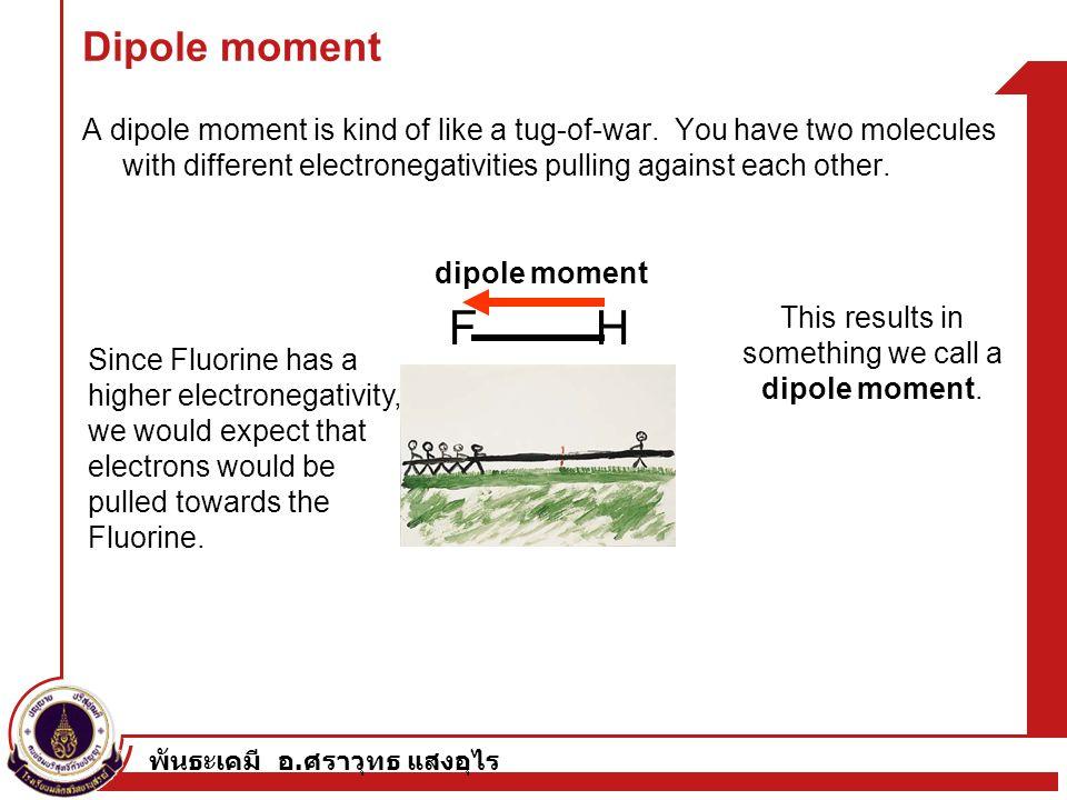 พันธะเคมี อ. ศราวุทธ แสงอุไร Dipole moment A dipole moment is kind of like a tug-of-war. You have two molecules with different electronegativities pul