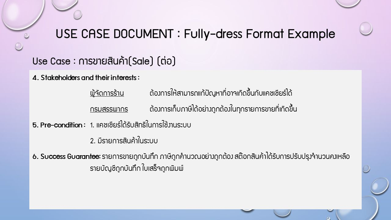 USE CASE DOCUMENT : Fully-dress Format Example 7.Main Success Scenario : 1.