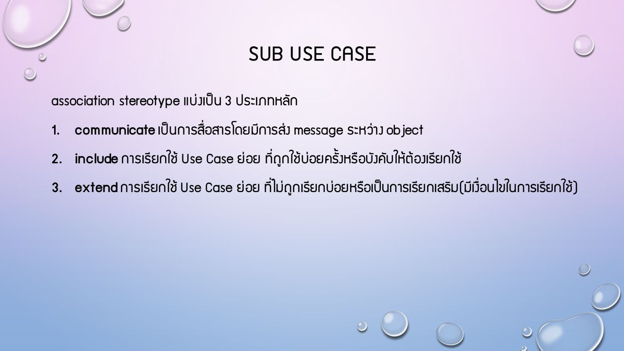SUB USE CASE association stereotype แบ่งเป็น 3 ประเภทหลัก 1.