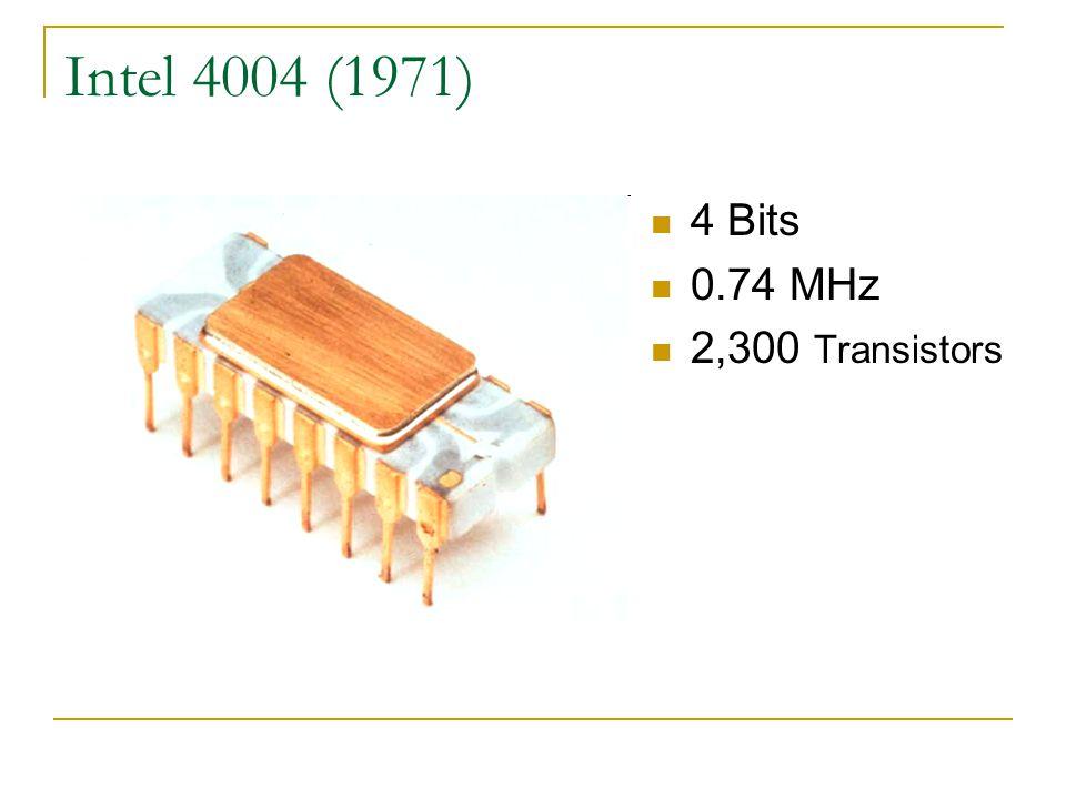Intel 4004 (1971) 4 Bits 0.74 MHz 2,300 Transistors