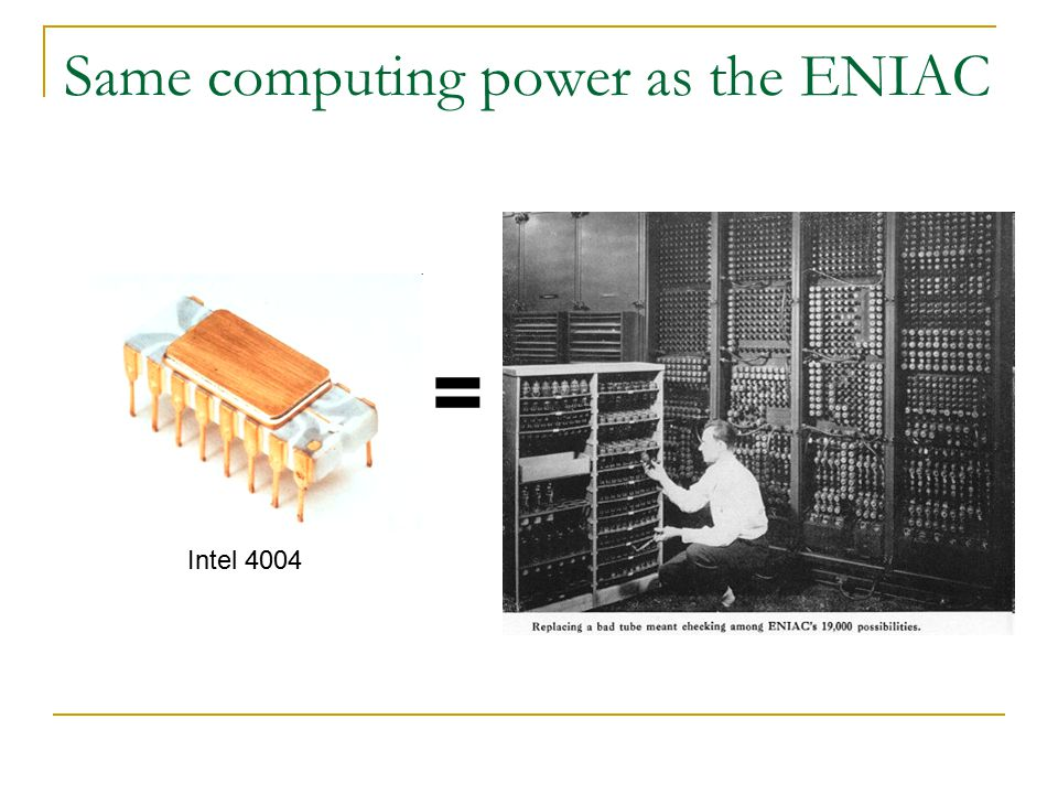 Same computing power as the ENIAC = Intel 4004