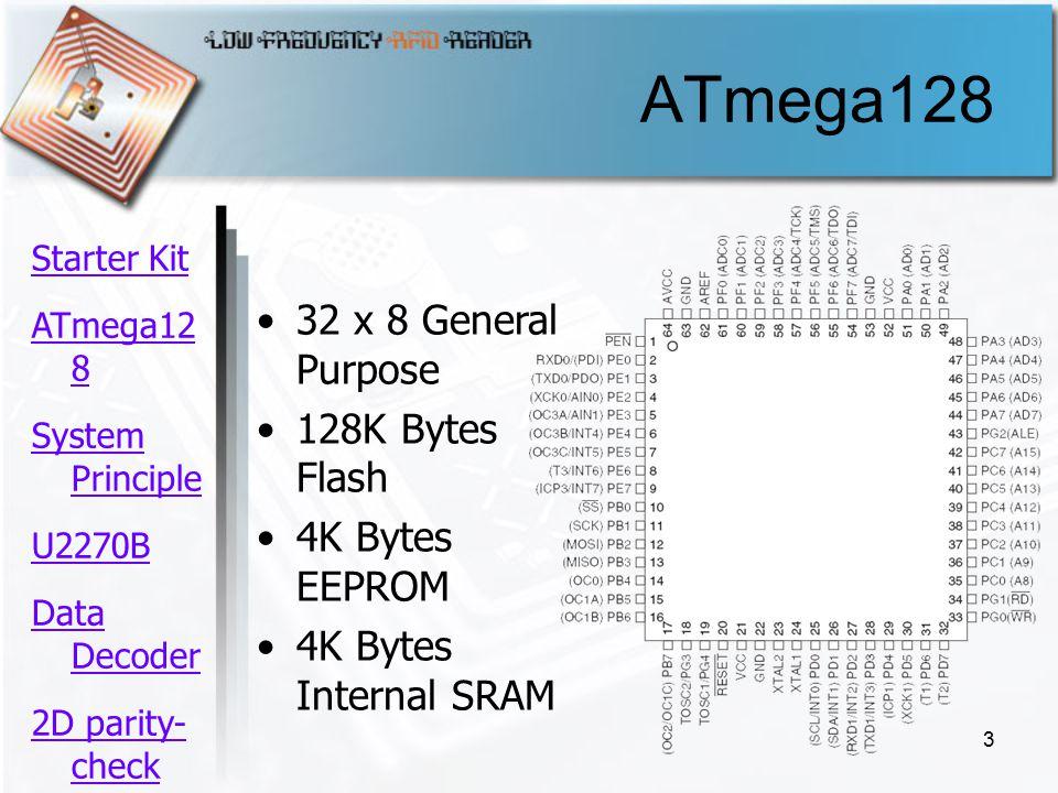 3 ATmega128 32 x 8 General Purpose 128K Bytes Flash 4K Bytes EEPROM 4K Bytes Internal SRAM Starter Kit ATmega12 8 System Principle U2270B Data Decoder 2D parity- check ความ คืบหน้า