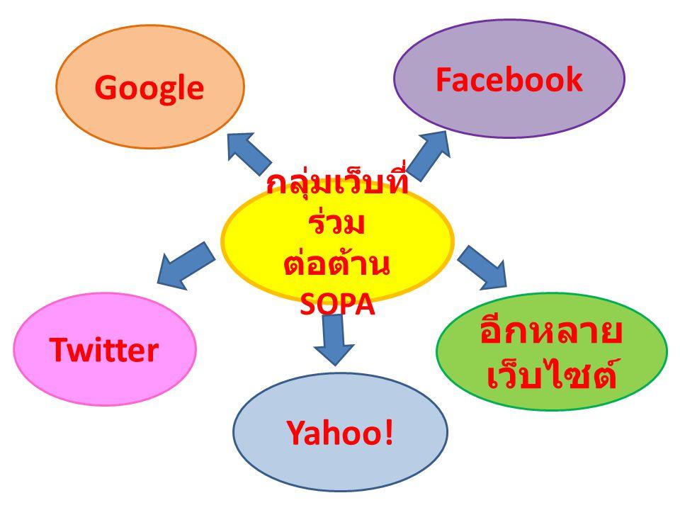 กลุ่มเว็บที่ ร่วม ต่อต้าน SOPA Facebook อีกหลาย เว็บไซต์ Yahoo! Twitter Google