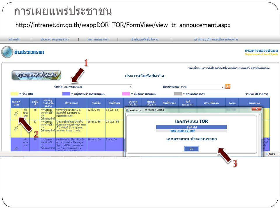 การเผยแพร่ประชาชน http://intranet.drr.go.th/wappDOR_TOR/FormView/view_tr_annoucement.aspx