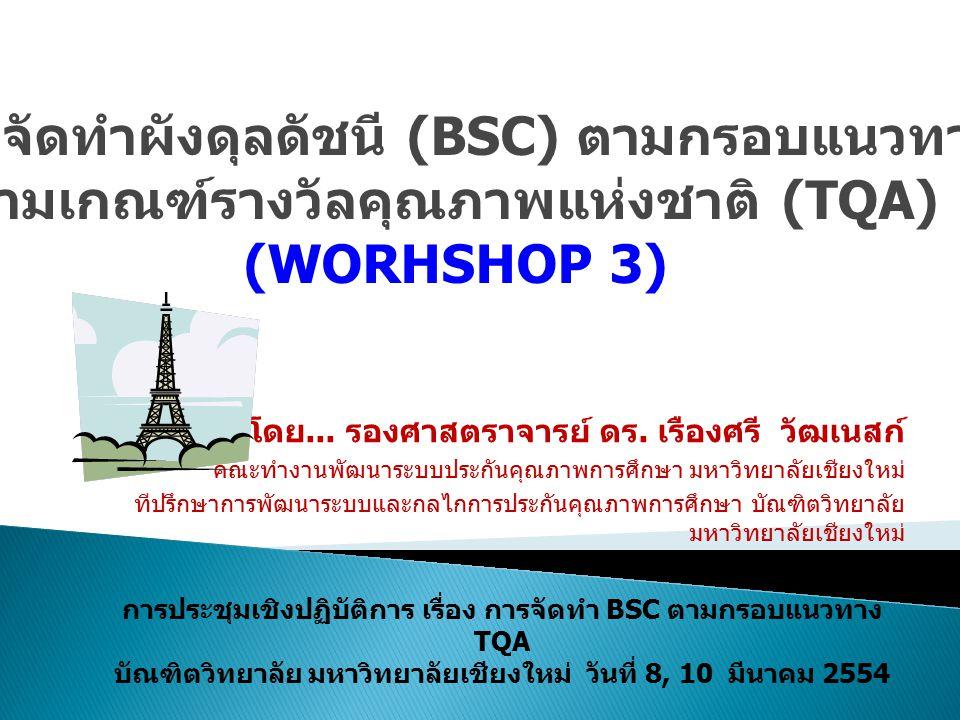 การประชุมเชิงปฏิบัติการ เรื่อง การจัดทำ BSC ตามกรอบแนวทาง TQA บัณฑิตวิทยาลัย มหาวิทยาลัยเชียงใหม่ วันที่ 8, 10 มีนาคม 2554 โดย... รองศาสตราจารย์ ดร. เ