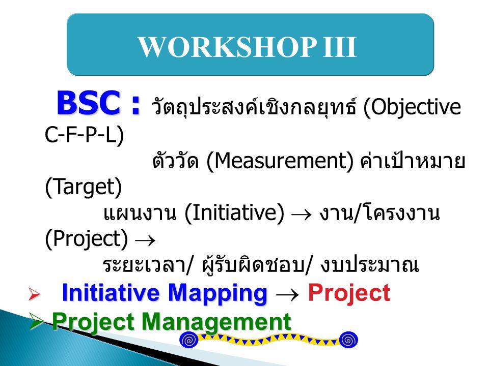 WORKSHOP III BSC : BSC : วัตถุประสงค์เชิงกลยุทธ์ (Objective C-F-P-L) ตัววัด (Measurement) ค่าเป้าหมาย (Target) แผนงาน (Initiative)  งาน / โครงงาน (Pr