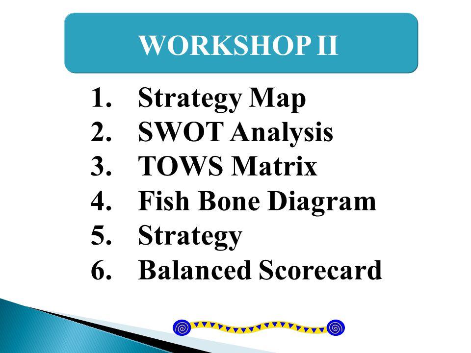 Balanced Scorecard (BSC) OP Strategy Map SWOT>TOWS Fish Bone DiagramStrategy Value Chain Vision Mission/Goal BSC มุมมองด้าน ลูกค้า (C) มุมมองด้าน การเงิน (F) มุมมองด้าน กระบวนการภายใน (P) มุมมองด้านการเรียนรู้ และการพัฒนา (L)