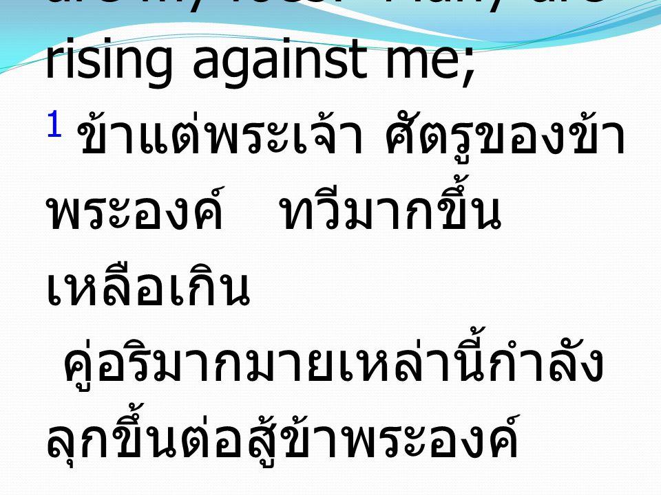 1 O LORD, how many are my foes! Many are rising against me; 1 ข้าแต่พระเจ้า ศัตรูของข้า พระองค์ ทวีมากขึ้น เหลือเกิน คู่อริมากมายเหล่านี้กำลัง ลุกขึ้น