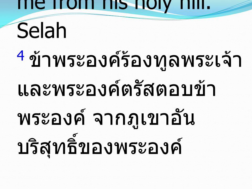 4 I cried aloud to the LORD, and he answered me from his holy hill. Selah 4 ข้าพระองค์ร้องทูลพระเจ้า และพระองค์ตรัสตอบข้า พระองค์ จากภูเขาอัน บริสุทธิ
