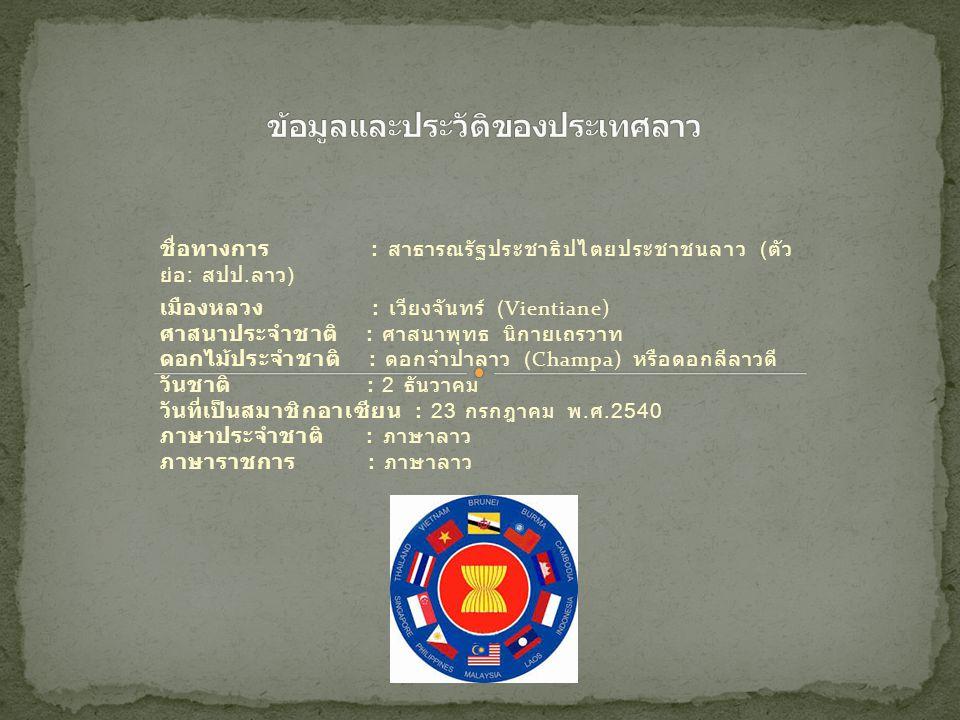 ชื่อทางการ : สาธารณรัฐประชาธิปไตยประชาชนลาว ( ตัว ย่อ : สปป. ลาว ) เมืองหลวง : เวียงจันทร์ (Vientiane) ศาสนาประจำชาติ : ศาสนาพุทธ นิกายเถรวาท ดอกไม้ปร