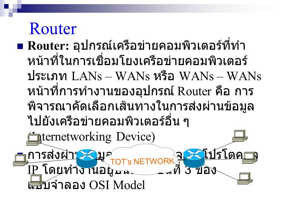 Router Router: อุปกรณ์เครือข่ายคอมพิวเตอร์ที่ทำ หน้าที่ในการเชื่อมโยงเครือข่ายคอมพิวเตอร์ ประเภท LANs – WANs หรือ WANs – WANs หน้าที่การทำงานของอุปกรณ์ Router คือ การ พิจารณาคัดเลือกเส้นทางในการส่งผ่านข้อมูล ไปยังเครือข่ายคอมพิวเตอร์อื่น ๆ (Internetworking Device) การส่งผ่านข้อมูลของ Router จะใช้โปรโตคอล IP โดยทำงานอยู่บนระดับชั้นที่ 3 ของ แบบจำลอง OSI Model TOT's NETWORK